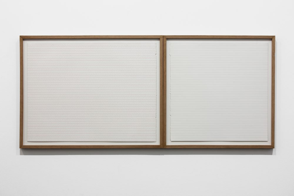 Zöllner's Illusion & Agnes Martin's lines (tilted). Color pencil drawings (46 x 101 cm).