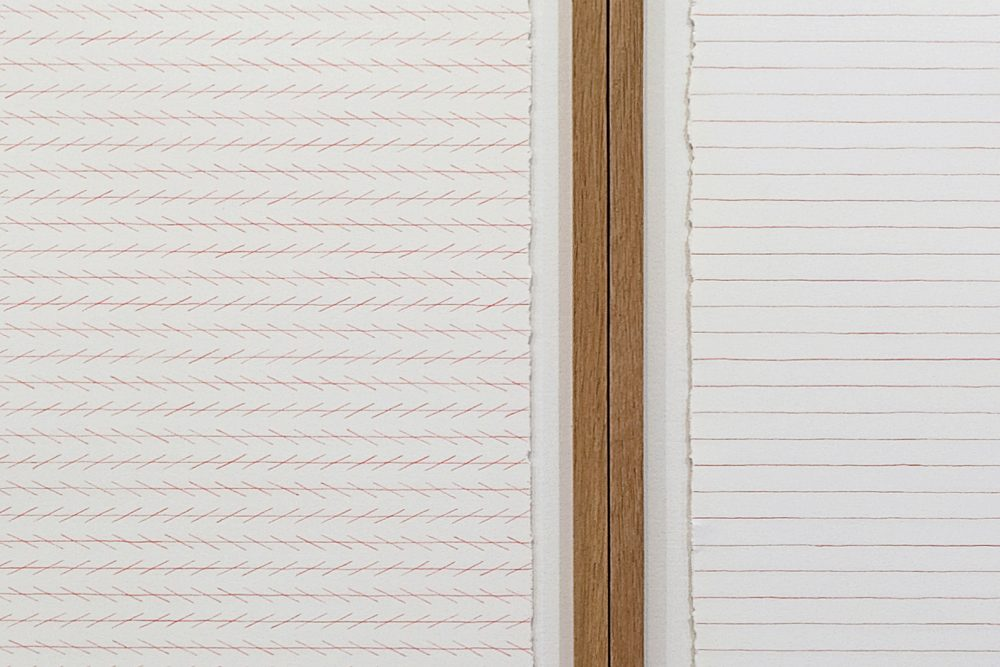 Zöllner's Illusion & Agnes Martin's lines. Detail, color pencil drawings (50 x 105 cm).