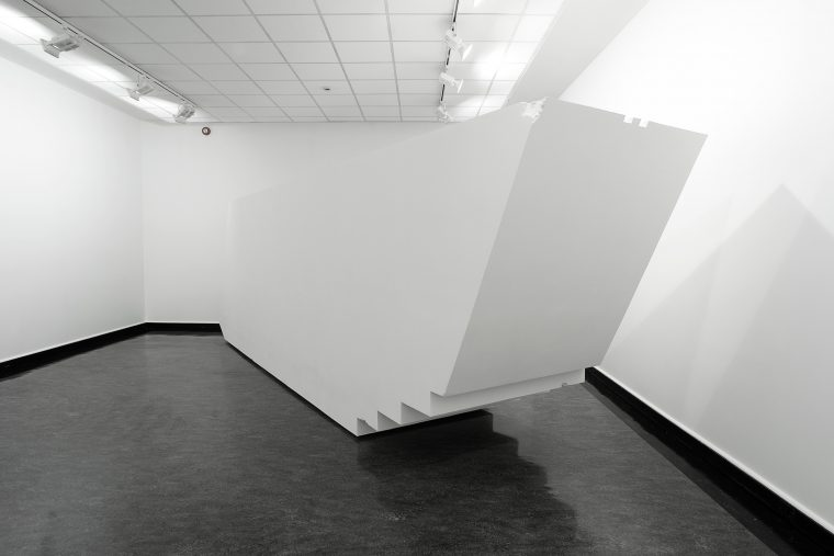 4D Construction (761 x 227 x 148 cm). Styrofoam, sanded and sealed, installation view at Bergen Kunsthall NO5.