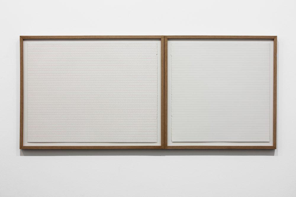 Zöllner's Illusion & Agnes Martin's lines (tilted). Color pencil drawings (46 x 101 cm).