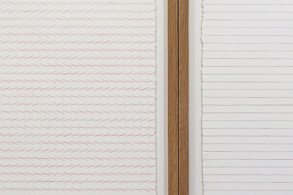 Zöllner's Illusion & Agnes Martin's lines. Detail, color pencil drawings (50 x 105 cm).